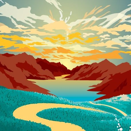 como hacer un paisaje en illustrator - diseñoscreativos.com