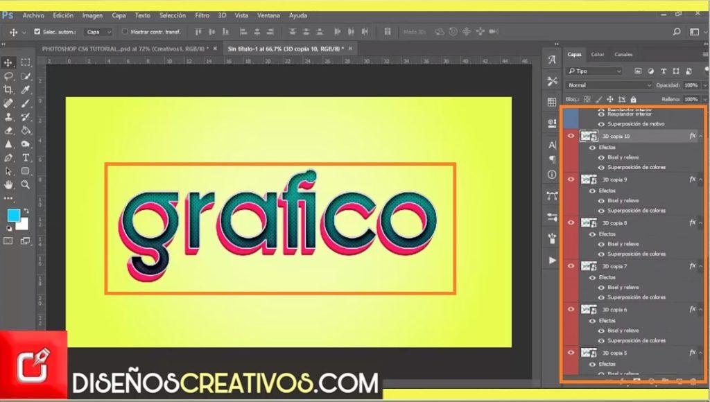 PHOTOSHOP CS6 TUTORIAL, Como Hacer Efecto de letras 3D diseñoscreativos.com 9