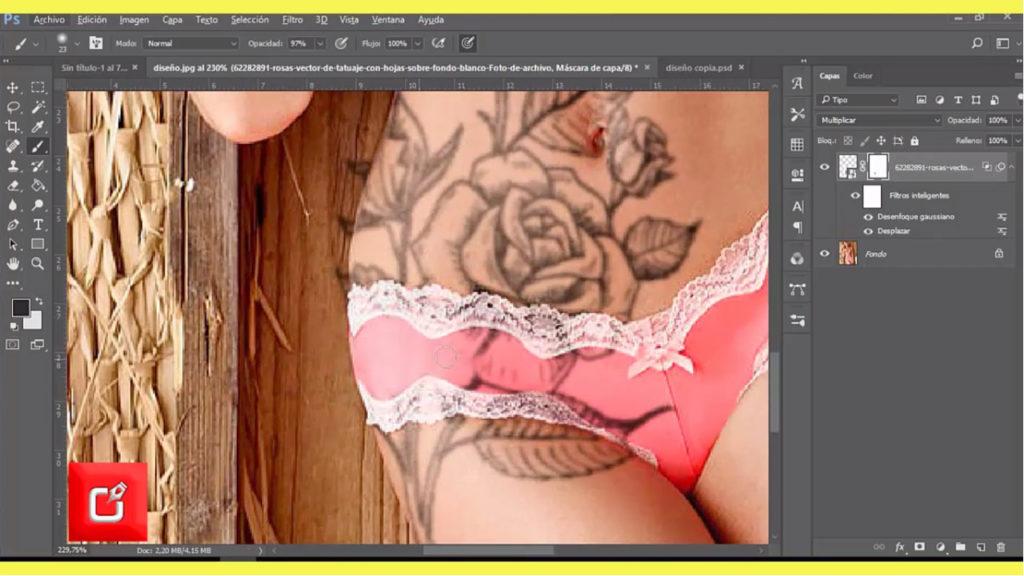 TUTORIAL PHOTOSHOP CS6, Como Hacer fotomontaje de tatuajes en una persona 8