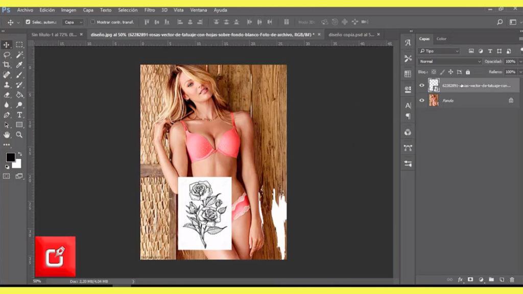 TUTORIAL PHOTOSHOP CS6, Como Hacer fotomontaje, de tatuaje en una persona 4