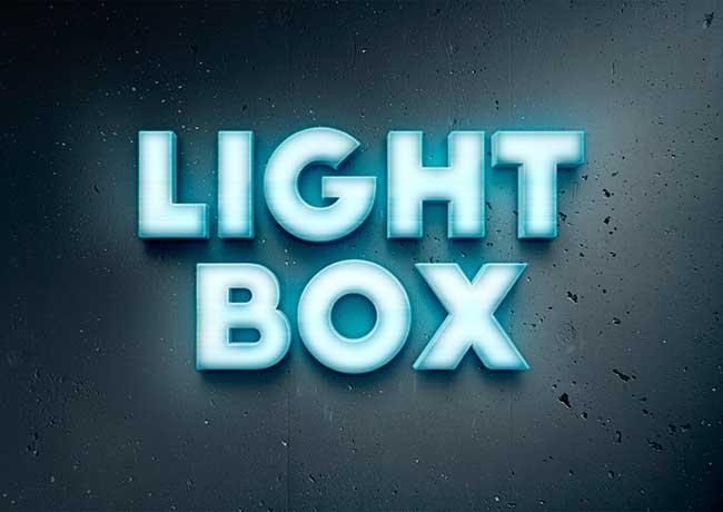 Lightbox efecto de texto
