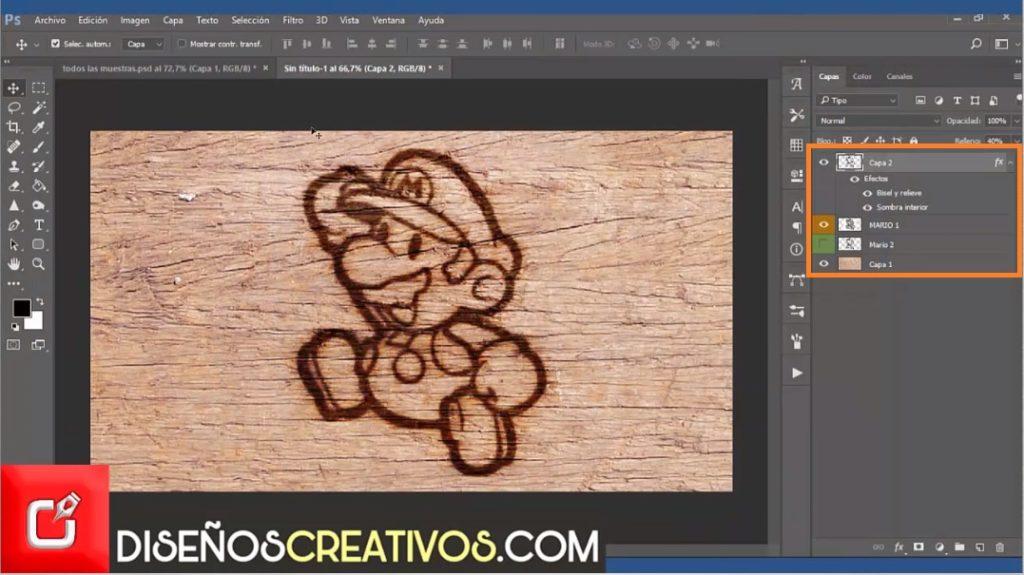 PHOTOSHOP CS6 TUTORIAL, como hacer imagen grabada en madera 6