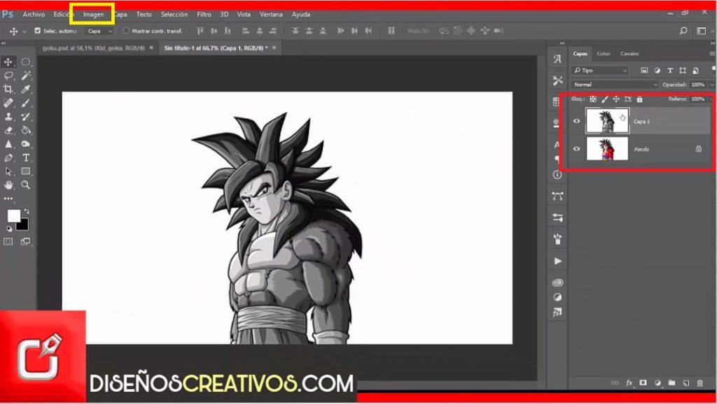 efecto de dibujo en photoshop dibujo de goku 5