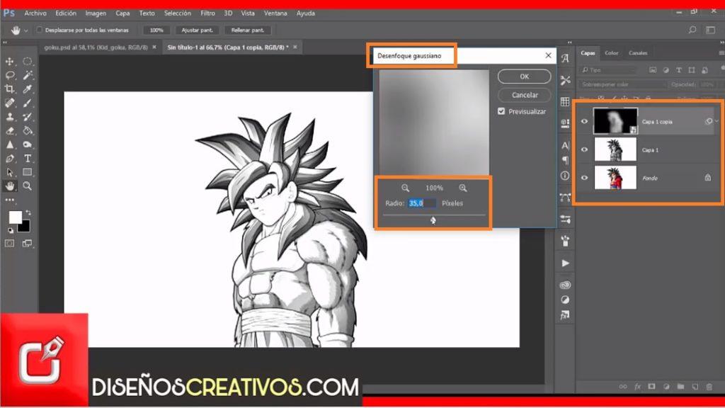 efecto de dibujo en photoshop dibujo de goku 6