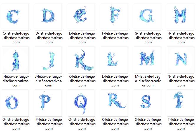Letras de Fuego Azul png
