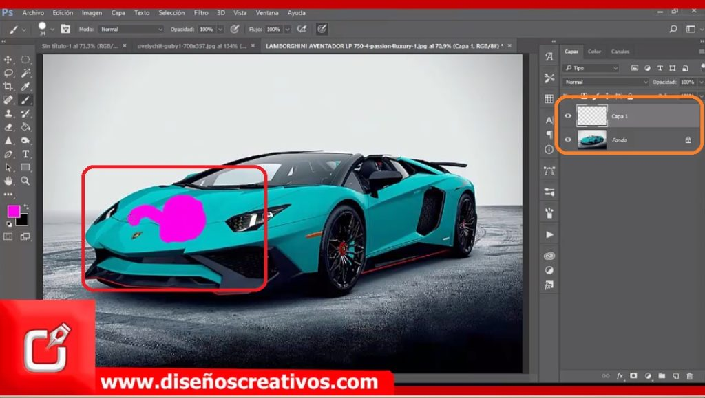 como cambiar el color de un objeto en photoshop