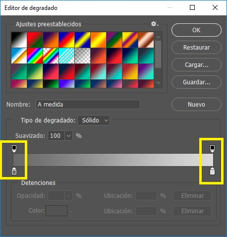 editor de degradado photoshop