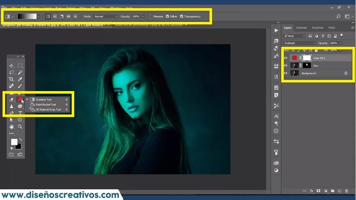 efecto doble luz en photoshop action